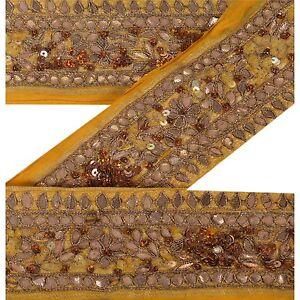 Sanskriti Vintage Sari Border Craft Yellow Trim Hand Beaded Gota Patti Work Lace