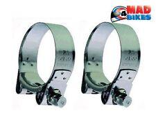 Resistente Mikalor acciaio inox Moto Scarico Morsetti Banjo Gancetti 47-51mm
