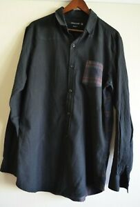 19 Ninety One Mens Shirt, Tailored Fit, Black with Contrast Check Back, Size M