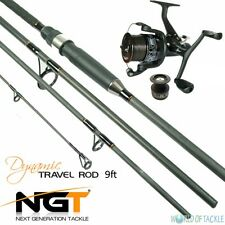 Carp Fishing Travel Rod and Reel 9ft 2.7M 4pc Piece Carbon NGT Dynamic