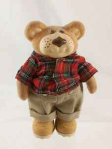 Furskins Panosh Place Poseable BOONE Green/Red Plaid Shirt Tan Pants Boots