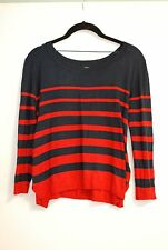 H&M HM WOMENS NAVY BLUE & RED STRIPE CROPPED KNIT SWEATER SMALL NAUTICAL