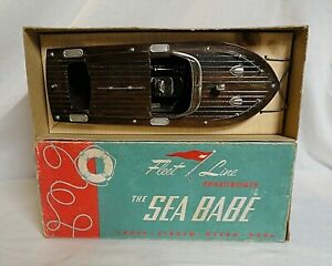 """RARE! 1950`S FLEETLINE """"SEA BABE"""" WOODEN BATTERY OPERATED BOAT UNUSED IN THE BOX"""