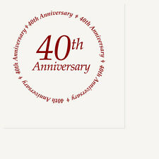 40TH ANNIVERSARY Party Supplies WHITE & RED DINNER LUNCH NAPKINS