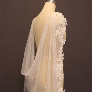 Pearls Bridal Wedding Cape Shoulder veils Cloak Long Ivory Shrugs for Bride Lace