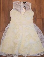 New *Lipsy* (Size 10 Uk) Beautiful Lemon Floral Burnout Dress