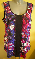 Ladies Womens Sleeveless Blouse Shirt Top Floral Lace City Chic Plus Size M 18
