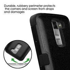 for LG K7 / Tribute 5 - FULL BLACK ARMOR HIGH IMPACT DEFENDER CASE PHONE COVER