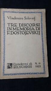 Soloviof: Tre discorsi in memoria di Dostojevskij  Quaderni di Bilychnis n° 16