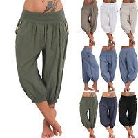 Women Oversize Baggy Short Leggings Plain Cropped Casual 3/4 Harem Trouser Pants