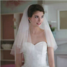 62v Charming Bridal Ivory Tulle Cut Edge Wedding Veil w/ Comb