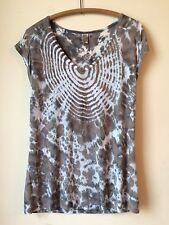 XCVI Brown Gray Tie Dye 100% Rayon Jersey Sheer Top Drapey Tee Sz M