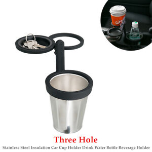 3 Hole Stainless Steel Insulation Car Cup Holder Drink Water Bottle Bracket