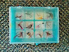 """Vintage Lot Of 12 Fishing Flies In Plastic Case """" Great Collectible Item """""""