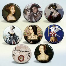 """Anne Boleyn """"The Most Happy"""" Queen of England badges Set of 8 pin back buttons"""