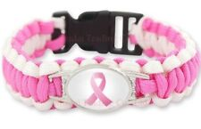 New Cancer Awareness pink ribbon parachute paracord survival braided bracelet