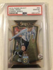 2015 Panini Select Soccer Striped Jersey #65 Lionel Messi Argentina PSA 10