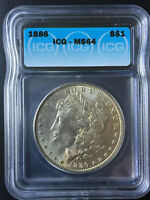 1886 MORGAN SILVER DOLLAR  ICG MS64. High Score Coin !!! Beautiful Toning !!!