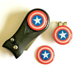 Golf  Pitchfork Magnetic Hat Clip With 3 Captain America Markers