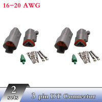 2 set Deutsch DT 3 Pin Connector Kit 16-20 AWG Connectors Male & Femal