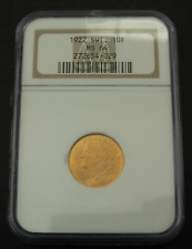 Suisse 1922B or 10 Francs NGC MS64