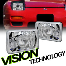7X6 Chrome Glass Lens Projector Headlights Headlamp L+R H4 H6052 H6054 H6014 Va1