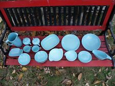 Lot of 30 Aqua Blue Melmac Maplex Dinner Set Pitcher Butter Gravy Cream Bowls