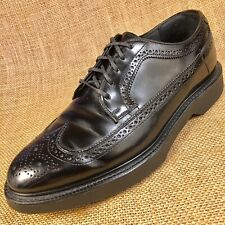 Hanover black  wing tip classic oxford leather dress shoes Vintage size 8 M