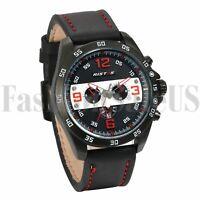 Men's Luxury Army Infantry Watchs Black Leather Band Quartz Sport Wrist Watch