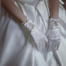 Short Satin Gloves Wedding Accessories Laced White Bows Wrist One Size Crocheted