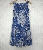 Monsoon Sleeveless Fit & Flare Sundress Blue White Floral Lined Dress US Sz 6