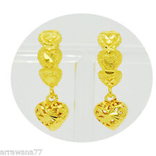 HEART 22K 23K 24K THAI BAHT YELLOW GOLD GP EARRINGS LEVER BACK JEWELRY