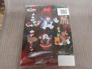 """2005 Bucilla """"North Pole"""" Sequined Felt 6-Pc. Ornament Kit #85188 Unopened NIP"""