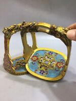 Chinese Antique Cloisonne boutique decoration Enamel stirrup a pair