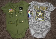 NEW boy U.S. ARMY camouflage BODYSUITS officially licensed LOT 2 size 3-6 MTHS
