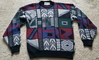 ROBERT BRUCE Sweater Large Abstract Print Aesthetic Cosby Biggy Ugly Vtg 80s 90s