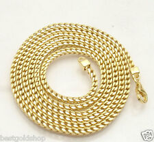 "36"" 3mm Italian Square Franco Chain Necklace 14K Yellow Gold Clad 925 Silver"