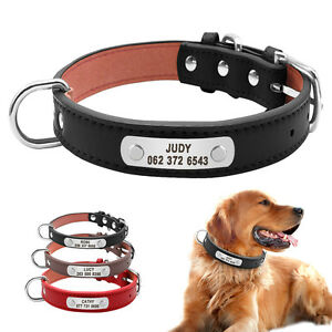 Soft Leather Personalized Dog Collars With D-ring Dog Name Phone Free Engrave