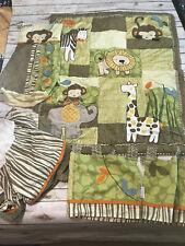 Cocalo Baby Green Safari Jungle Monkey Crib Bedding Comforter Set Azania Zebra