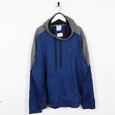 Vintage CHAMPION Small Logo Polyester Hoodie Sweatshirt Grey Blue 2XL