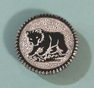 """Victorian Black Glass Button Bear Silver Luster Background Saw-Tooth Rim 11/16"""""""