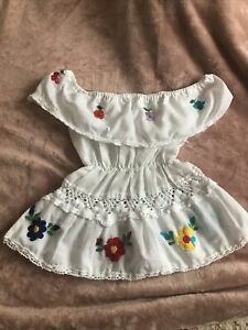 Girls Vintage Dress Off Shoulder Embroidered White Size 2 T Approx Mexican Boho