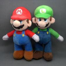 """2 Pcs Set Super Mario Bros LUIGI & MARIO Plush Doll Stuffed Toy 10"""" Xmas Gift"""