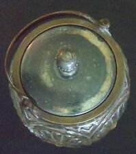 ANTIQUE PRESS  GLASS  BISCUIT  JAR   5 PANEL, 6 in TALL