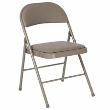Flash Furniture Hercules Faux Leather Padded Metal Folding Chair in Gray