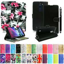 For Various LG Phones PU Leather Book Side Wallet Card Flip Case Cover + Stylus