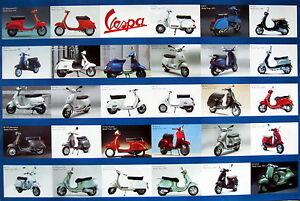 """VESPA """"29 CLASSIC MOTOR SCOOTERS"""" POSTER - Piaggio Italian Motorbikes"""