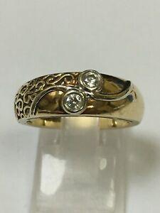 Unusual 9 Carat Yellow Gold 2 STONE DIAMOND RING