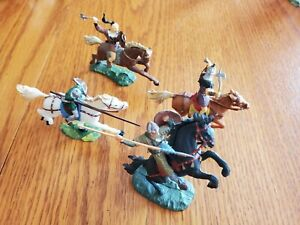 Elastolin 40MM Mounted Huns and Knights. Toy Soldiers