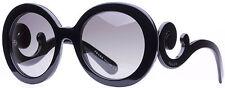 Prada SPR 27N 1AB-3M1 Black Baroque Swirl Women's Round Sunglasses